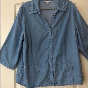 JM Collection blue Denim Jean Chambray Shirt  18W